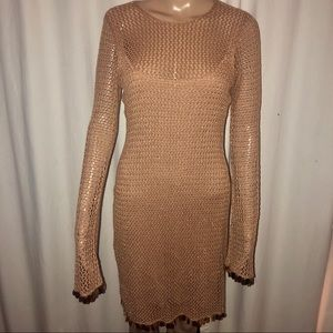 Moda International open knit sparkly dress